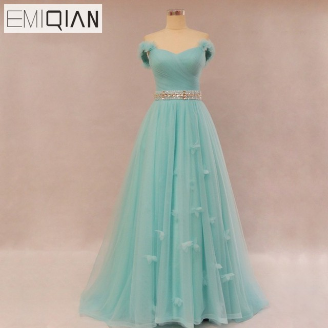Free Shipping Real Photo Popular A Line Removable Straps Mint Tulle Evening Dress