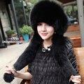 Ruso cálido invierno nieve de las mujeres realmente grandes orejas de zorro oído de la manera superior de la piel de conejo Rex gorro de piel sombrero Mongol cap