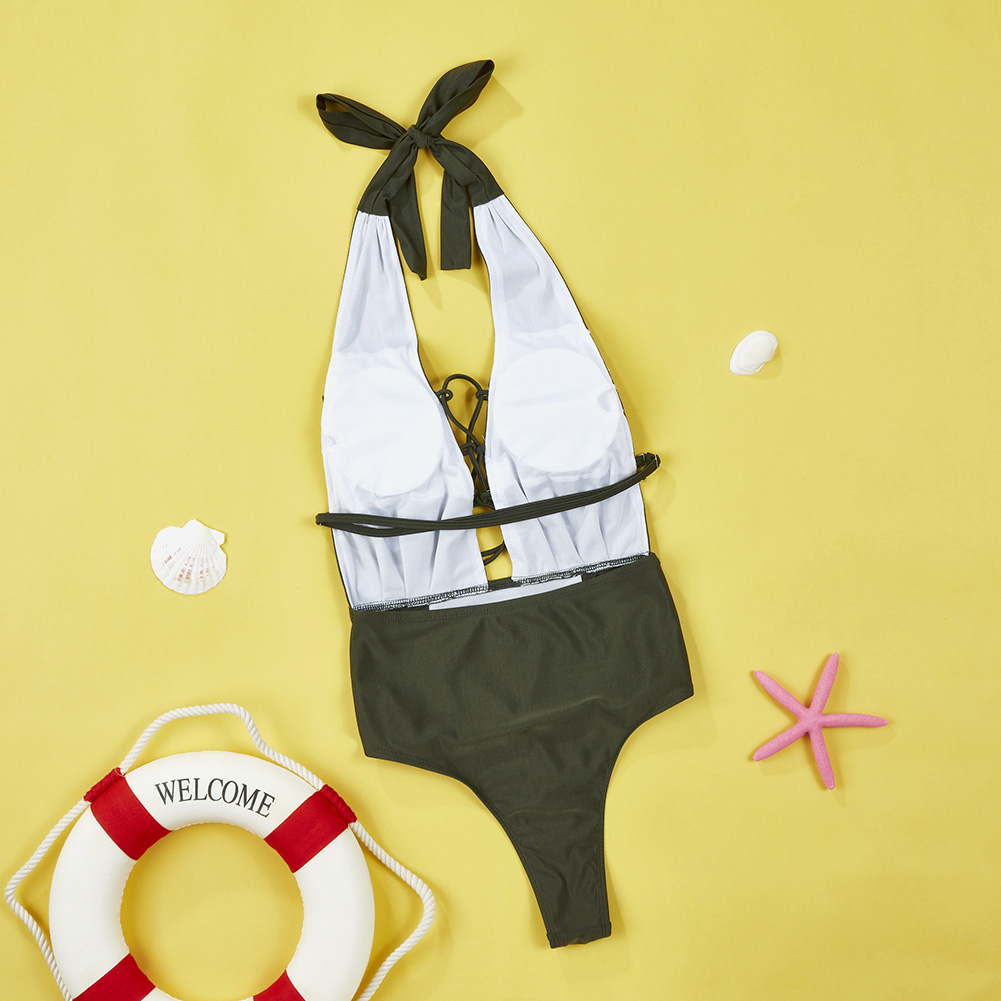 Newest One Piece Swimsuit Women Sexy Deep V-Neck Bandage Monokini Swimwear Female 2017 Bathing Suit Beach Wear S-XL 5