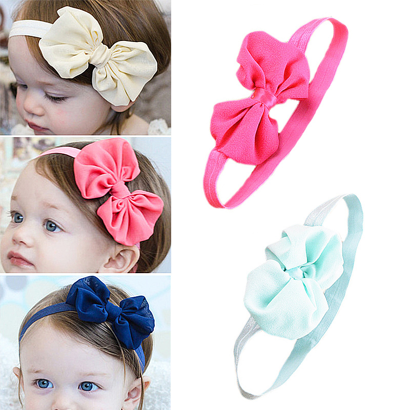 New High Quality 12 Colors Fa Shion  Children Girls Solid Hairbands Bowknot Chiffon Lovely Headbands Hair Accessories