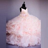 Pembe Çiçek Kız Elbise Spagetti Sapanlar Balo Ruffles Organze Pageant Elbise Kızlar için Uzun Kız Elbise Düğün için