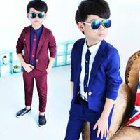 2pieces Children Suit Boys Suits Kids Blazer Wedding Boys Clothes Jackets Blazer+Pants Boy Clothing Sets Kids Paryt Clothes