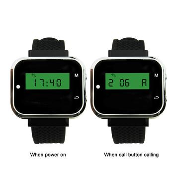 JINGLE BELLS CTW05 2 sztuk zegarek pager odbiorniki bezprzewodowy system wywołujący dla restauracji kelner zegarek pager gości pager 433 MHz tanie i dobre opinie 433 92mhz black call button work with watch pager