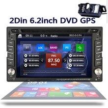 """6.2 """"двойной дин стерео проигрыватель 2 din Радио dvd-плеер GPS навигации Bluetooth IPOD сенсорный экран видео + заднего вида Камера"""