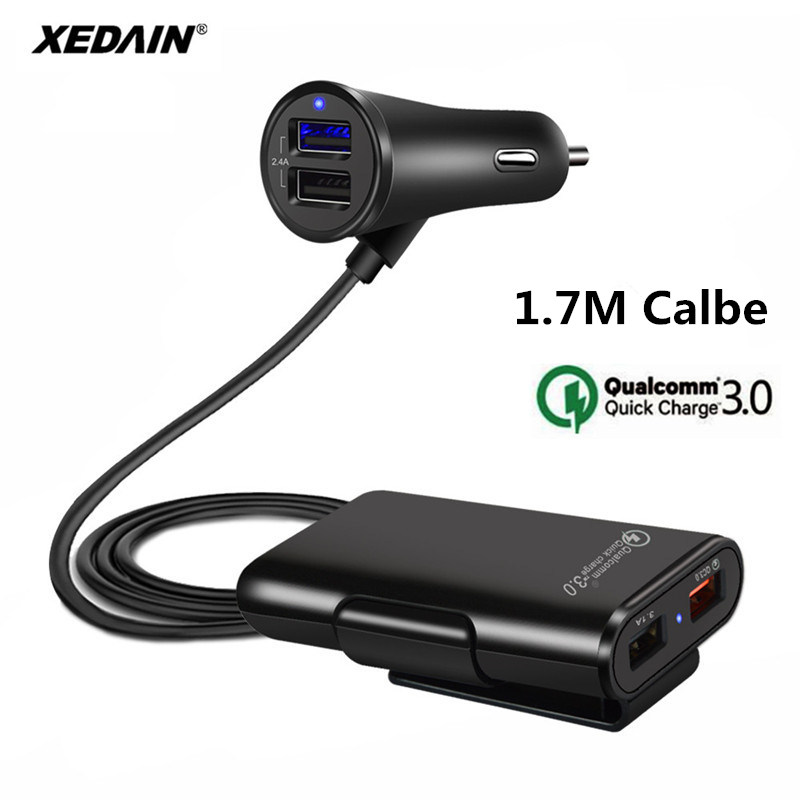 Car-Charger Fast-Adapter QC3.0 4-Port USB Universal With Extension Cord-Cable For MPV