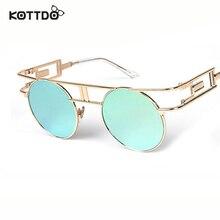 KOTTDO Retro Round Metal Frame Sunglasses Steam Punk Vintage Hip Hop Designer Versae For Women Men oculos de sol masculino