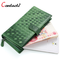 CONTACT S Luxury Brand Kintting Genuine Leather Women Wallet Female Purse Small Card Holder Phone Clutch