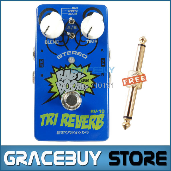Baby Boom Effects Biyang RV-10 3 Mode Tri Reverb Reverb Stereo True Bypass Electric Guitar Pedal Musical Instrument biyang baby boom fz 10 electric guitar effect pedal three models fuzz star distortion true bypass musical instruments