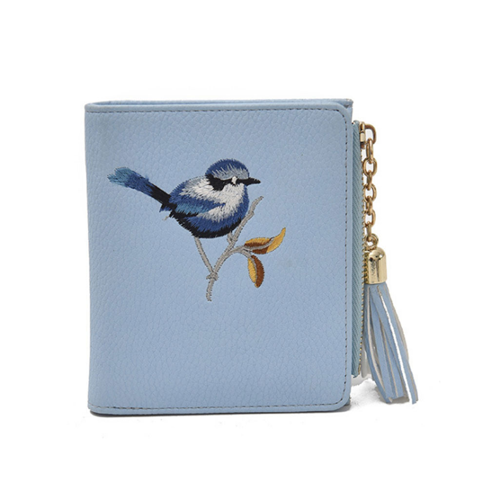 Women Vintage Bird Embroidery Short Purse PU Leather Cute Tassels Zipper Card Holder Wallet Coin Pocket Lady Casual Money Bag vintage women short leather wallets stylish wallet coin card pocket holder wallet female purses money clip ladies purse 7n01 18