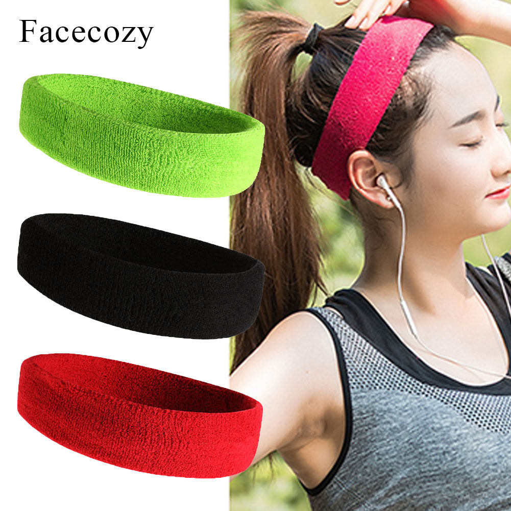IYOU Sport Headbands Yoga Sweatband Stretchy Fitness Hair Bands Cotton Black Headband for Women and Girls pack of 6