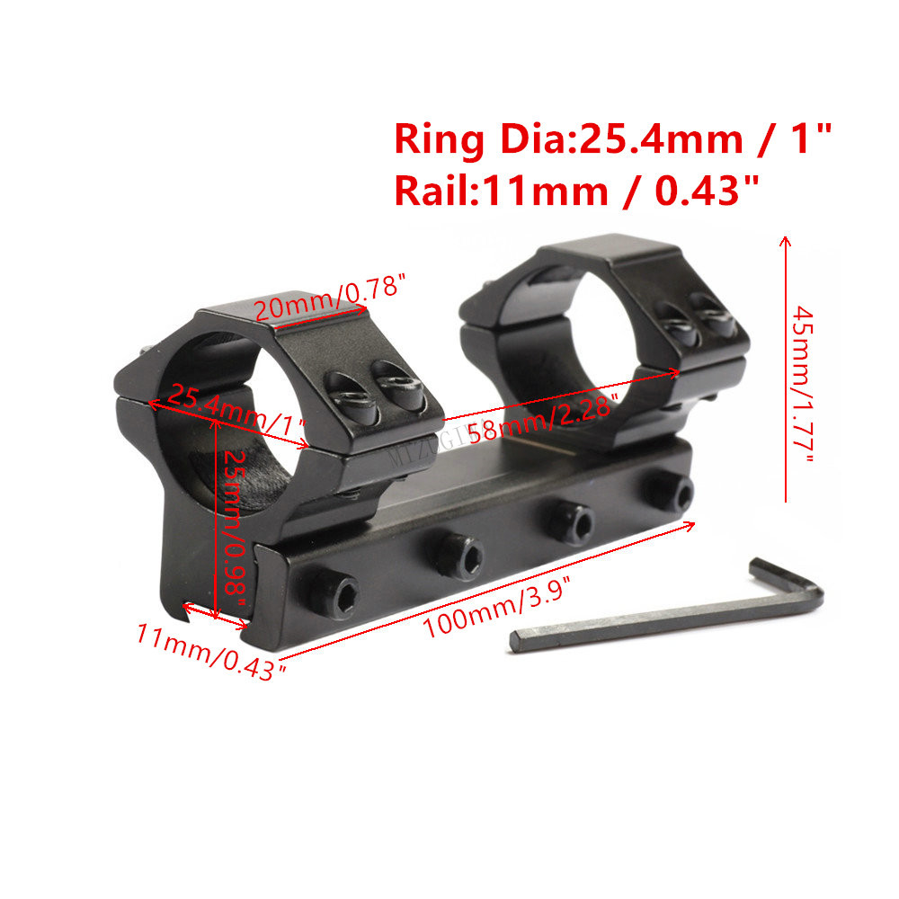"Scope Mount 25.4mm 1"" Ring One Piece With Stop Pin Fit 11mm Picatiiny Rail Dovetail Weaver Air Rifle Magnum Pistol Airsoft"
