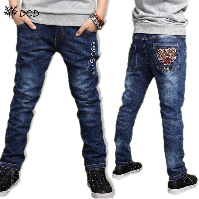 4 Т-14 Т джинсы для мальчика малыша мода Тигр глава прохладный мальчики джинсы весна брюки письмо дети джинсовые брюки детская одежда одежда