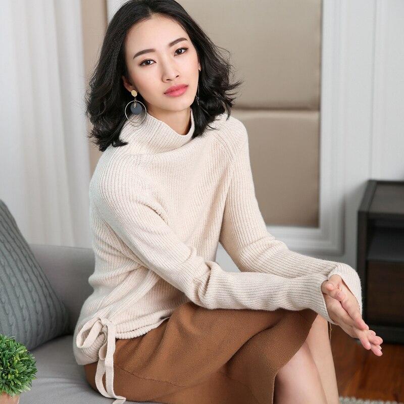 Pullover 2018 Herbst Winter Hohe Kragen Neue Frauen Kaschmir Pullover Vogue Hohe Qualität Seite Frenulum Lose Wolle Pullover Warme Pullover Clear-Cut-Textur