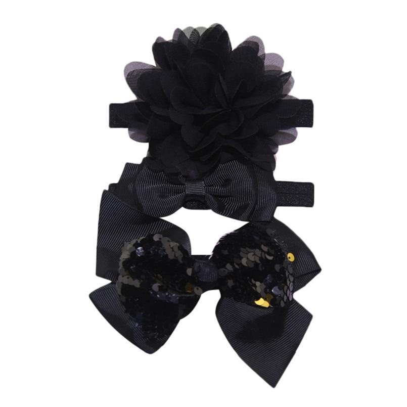 Headwear Baby Girls Hairbands 3Pcs Kids Elastic Floral Headband Baby Girls Sequins Bowknot Hairband Set tiara infantil #4S12 (27)