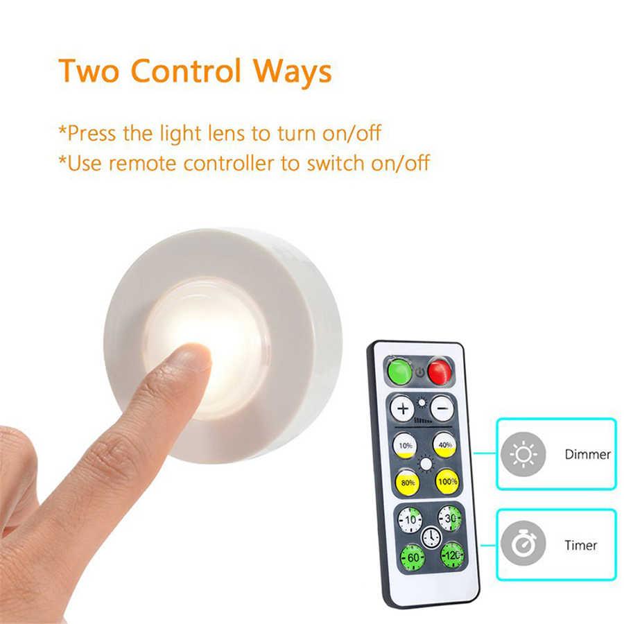 Sensor táctil regulable bajo la luz del Gabinete luces LED Puck focos de Downlight inalámbricos para cerrar la lámpara de Noche del pasillo del armario