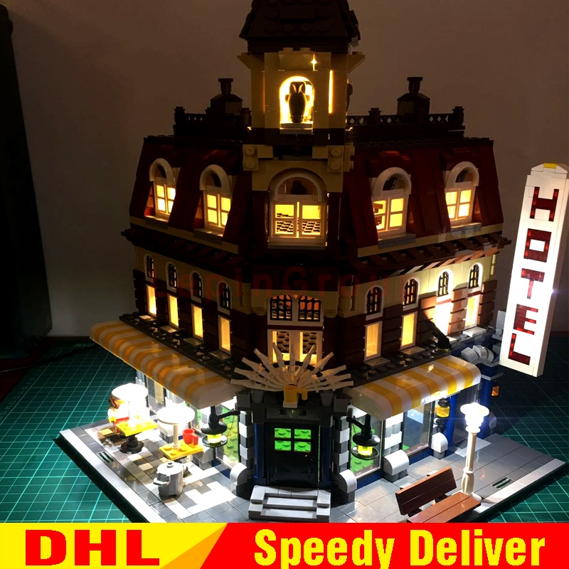LEPIN 15002 Cafe Corner DIY Led Light Model Building Blocks Bricks brinquedos Clone 10182 Educational legoing Toy Children Gifts new lepin 15002 2133pcs cafe corner model building kits blocks kid diy educational toy children day gift brinquedos 10182