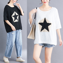 Pentagram Appliques Plus size Women loose T shirt Star white harajuku Vogue tshirt tops tee 100% cotton oversized minimalist top