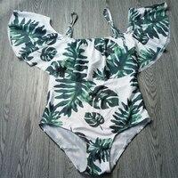 2018 Sexy Off Shoulder One Piece Swimsuit Women Swimwear Push Up Monokini Ruffle Bodysuit Printed Leaf