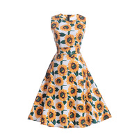 Women High Waist Tunic Dress Sleeveless Vintage Floral Sun Flower Printed Midi Dress Elegant Party Vestidos