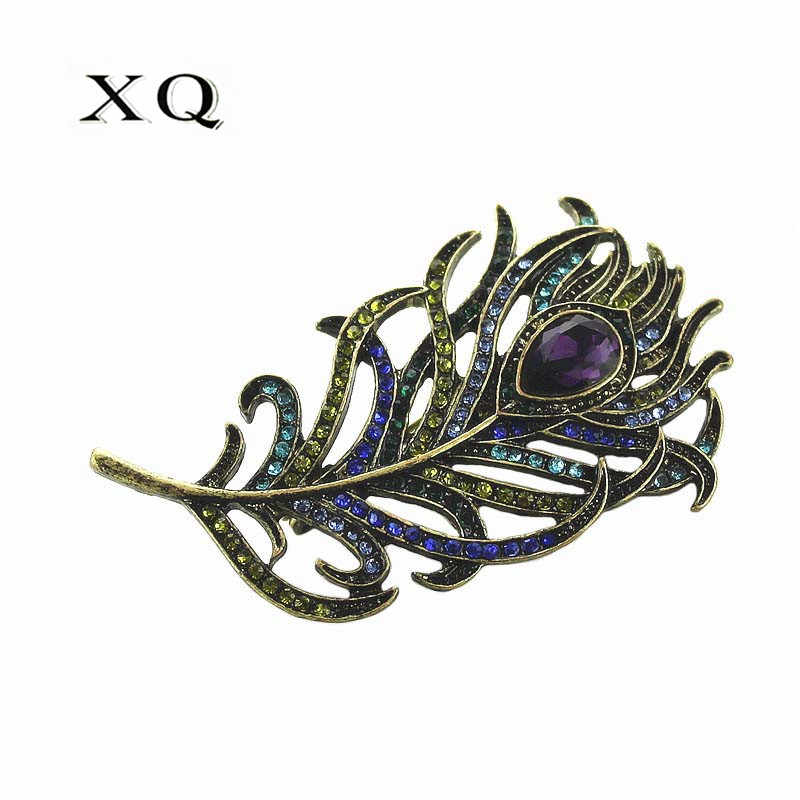 XQ Plated ancient bronze feather pumpkin loom pearl brooch for men accessories woman jewelry retro ladies Zinc alloy badge