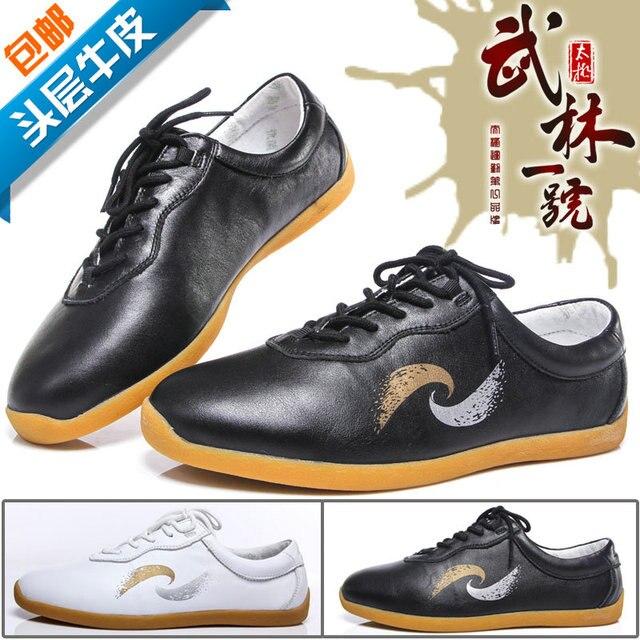 Искусство импорт глава слой коровьей обуви кожи Dichotomanthes Нижние действительно Тай-Чи и Тай-Чи движение досуг обувь Примечание размер