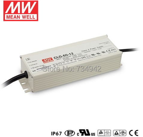 MEANWELL 12V 60W UL Certificated CLG series IP67 Waterproof Power Supply 90-295VAC to 12V DC meanwell 24v 60w ul certificated lpv series ip67 waterproof power supply 90 264v ac to 24v dc