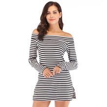 Striped Off-shoulder Long Sleeve T-Shirt For Women Slim Fit Bodycon Striped Side Split Elegant Casual Tee Beach Holiday Party