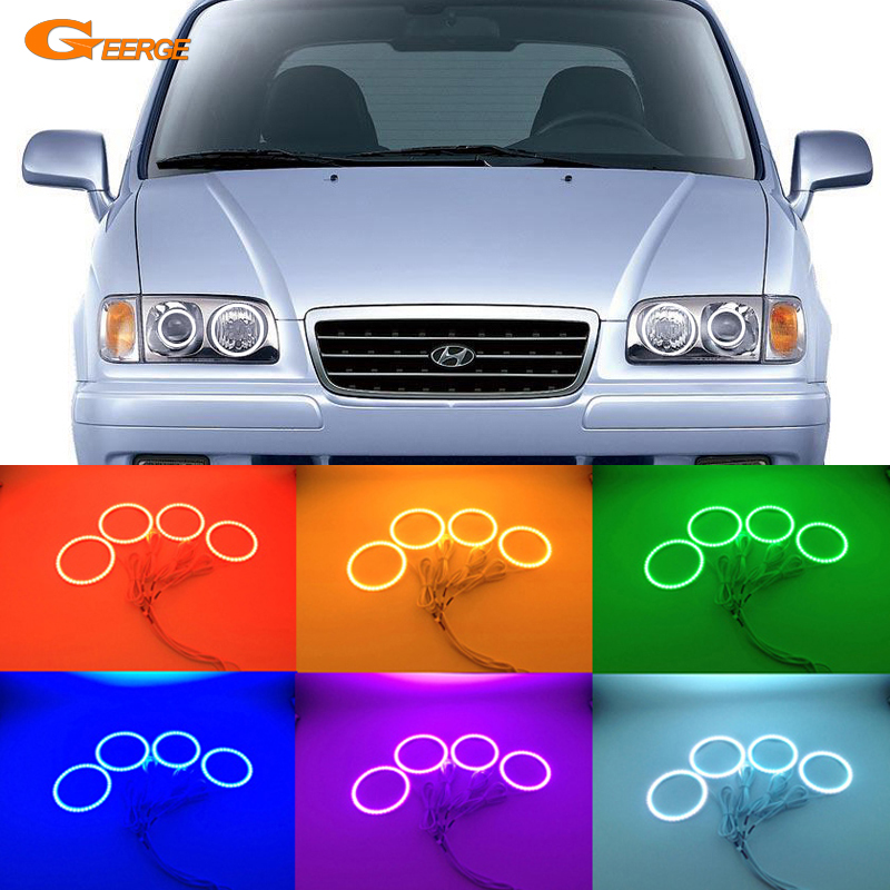 For Hyundai TRAJET XG 1999-2008 Excellent Angel Eyes Multi-Color Ultra bright RGB LED Angel Eyes kit Halo Rings hyundai trajet 1996 2006 978 966 1672 89 4