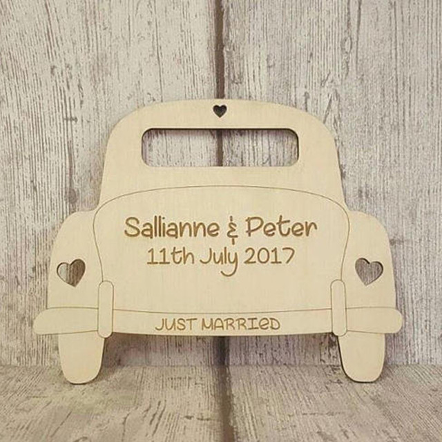 Us 150 Creative Car Shape Customizable Personalised Wooden Wedding Gift Decoration Wood Plaque Natural Rustic Ornaments Decors In Figurines