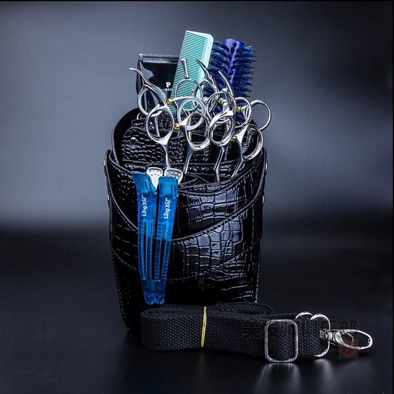 Pro Salon Leather Hairdressing Scissors Kit Bag Scissors Pockets Multifunction Hairstylist Holster Pouch Holder Tool