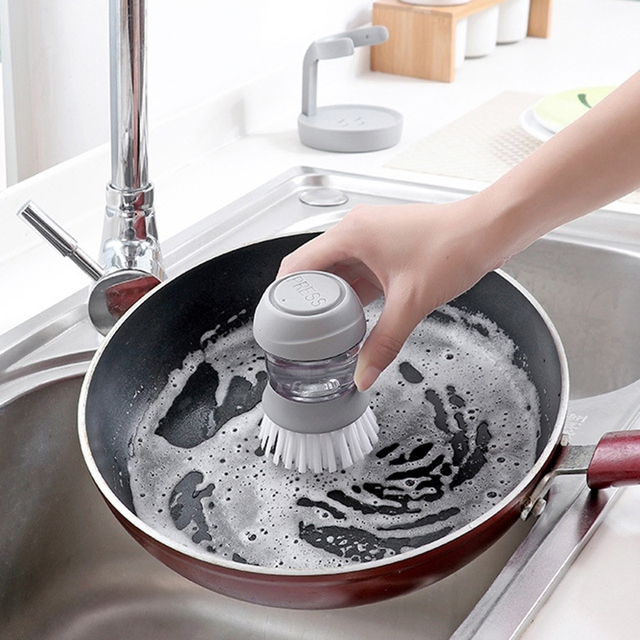 Cleaning Brushes Dish washing tool Soap Dispenser Refillable pans cups bread Bowl scrubber kitchen goods accessories gadgets