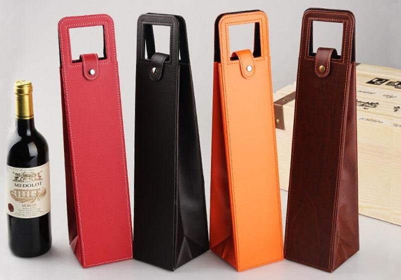 100 Stks/partij Luxe Draagbare Pu Lederen Wijn Zakken Rode Wijn Fles Verpakking Case Gift Opslag Dozen Met Handvat Bar Accessoires
