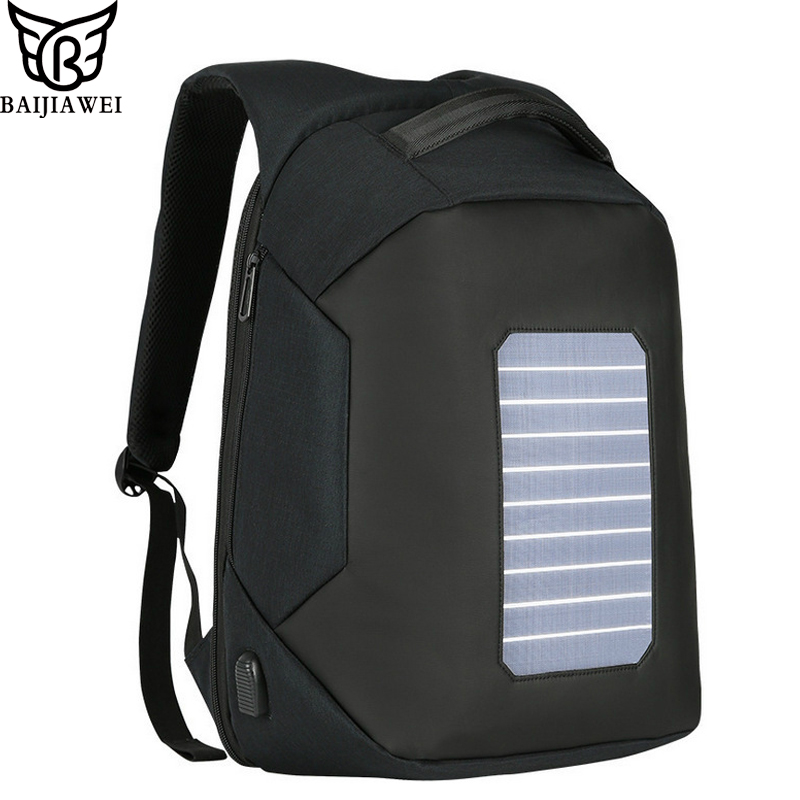 BAIJIAWEI New Solar Charging Backpack Anti-theft Backpack USB Charging 16 inch Laptop backpacks Waterproof Casual Travel Bags men s backpack anti theft usb charging travel backpack waterproof nylon unisex school bags for female laptop business backpack