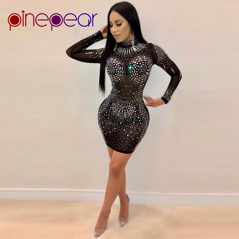 761140e6b6 US $18.62 19% OFF|PinePear Glitter Crystal Diamond Dress 2019 Winter Women  Rhinestone Long Sleeve Mesh Dress Sexy See Through Party Club Vestidos-in  ...