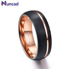 Nuncad T042R 8MM width black dome frosted surface Tungsten Ring Wedding Brand tungsten Carbide ring for Men Jewelry