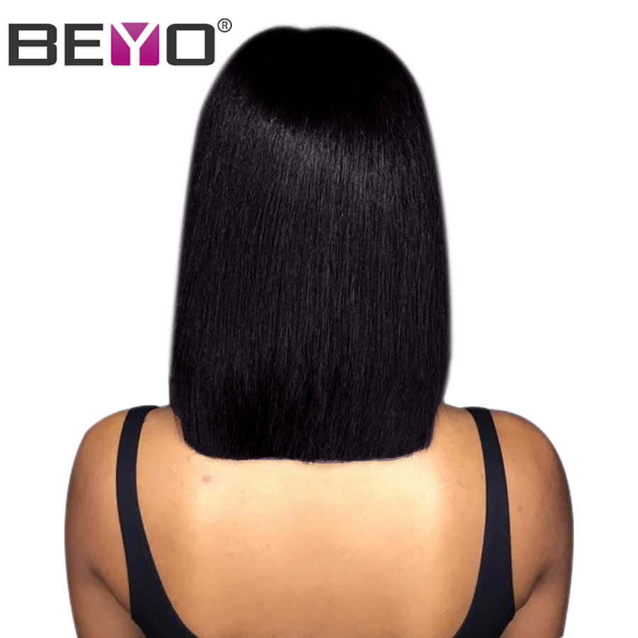 Beyo Straight Short Bob Wig Lace Front Human Hair Wigs For Women 150% Density Lace Wig With Baby Hair Remy Peruvian Hair