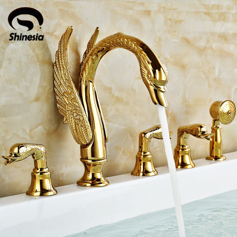 Shinesia Newly Luxury Gold Polished Brass 5Pcs Bathroom Bathtub Faucet Swan Spout with Hand Shower Mixer 3 Handles Hot and Cold shinesia newly luxury gold polished brass 5pcs bathroom bathtub faucet swan spout with hand shower mixer 3 handles hot and cold