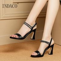 Sandals Women Summer Shoes Women Sandals Genuine Leather Summer Open Toe Black Heels Thick Heel Sandals White