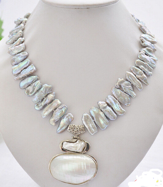 Free Shipping ***Hot sale >>17 25mm gray biwa dens freshwater pearl necklace mabe pendant