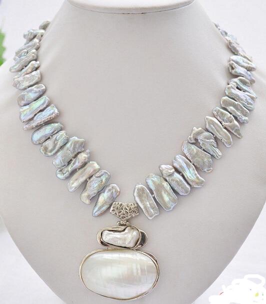 Free Shipping ***Hot sale >>17 25mm gray biwa dens freshwater pearl necklace mabe pendan ...
