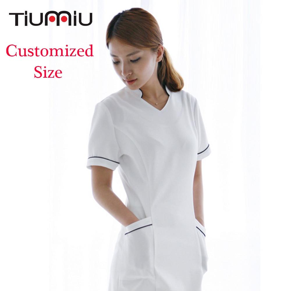 Customized Hospital Nurse Uniform Pharmacy Work Uniforms Short Sleeve Drugstore Dress SPA Beautician Workwear Women Female Dress