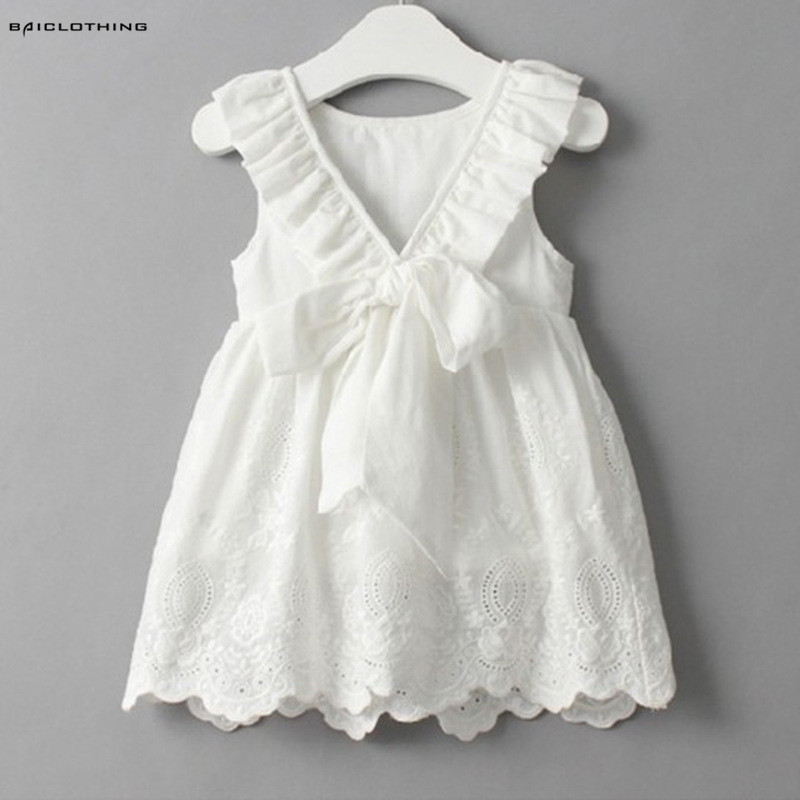 2017 Summer Bow Baby Girls Cotton Dress Sundress Cute Princess Dress White Embroidery Dress Children Clothes For Girls 2-6Y спот arte lamp lettura арт a5271ap 1cc