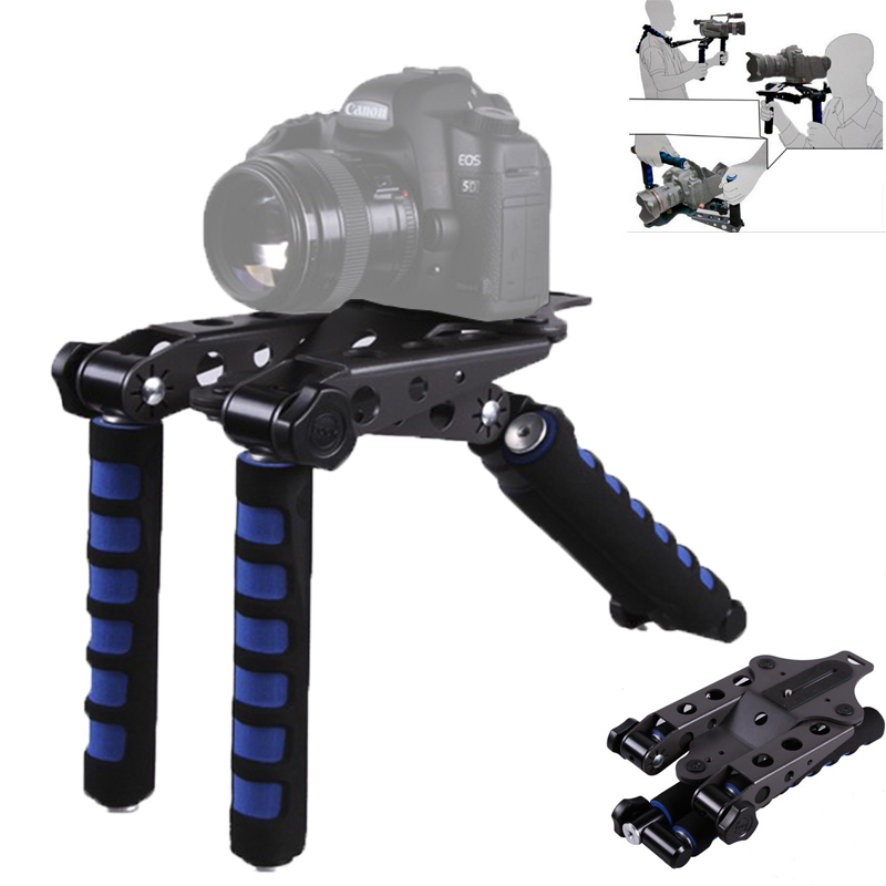 Blue DSLR Rig Movie Kit Shoulder Mount Support for Canon 5D II III 7D 600D 750D 800D Nikon D3100 D3200 D3400 D80 D90 DSLR DV
