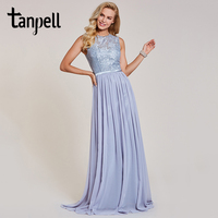 Tanpell Lace Long Evening Dresses Scoop Sleeveless Floor Length A Line Gown New Women Chiffon Wedding