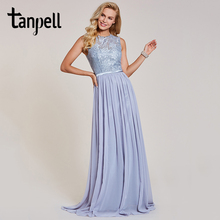 Tanpell lace long evening dresses scoop sleeveless floor length a line gown new women chiffon wedding party formal evening dress цены