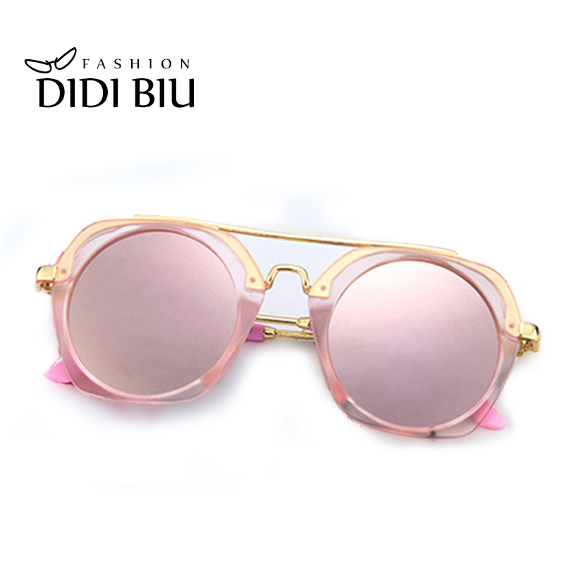 DIDI Cool Children Small Round Sunglasses Boy Metal Half Frame Girls Glasses Kids Brand Designer Pink Sunglasses Cute Grau C759
