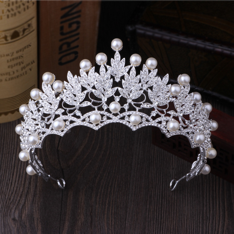 Gorgeous Vintage Crystal Pearl Bridal Crowns Tiaras Wedding Hair Accessories Bride Womens Baroque Crown Silver Leaf Hair Jewelry