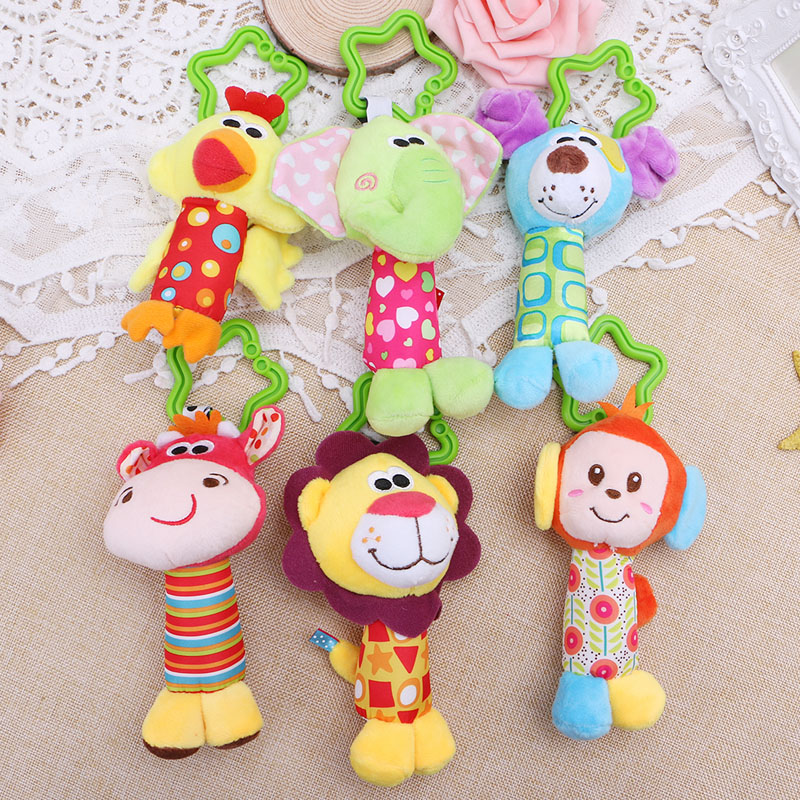 HBB Baby Early Educational Doll Soft Plush Stroller Hanging Ring Bell Rattle Toys