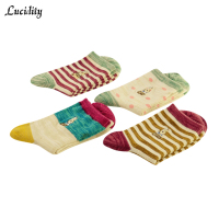 Lucidity Cotton Socks For Girls Nation Wind Casual Women Winter Socks Medium Tube Cute Female Warm Socks 5pairs/lot