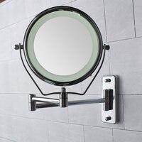 6インチダブルサイドledイルミネーション拡大鏡浴室シェービングシャワーミラー7倍メイク化粧鏡壁掛け付きライ